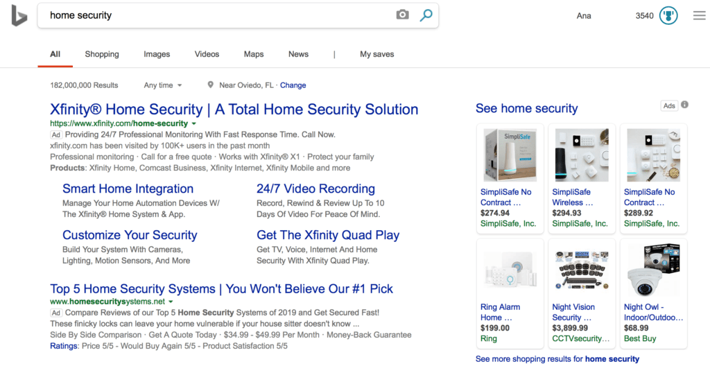 Bing Ads example for home security