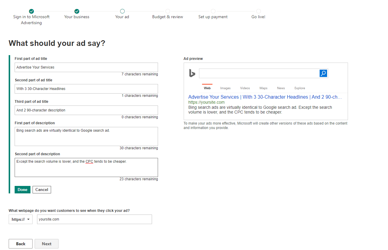 Create first Bing search ad in Microsoft Advertising