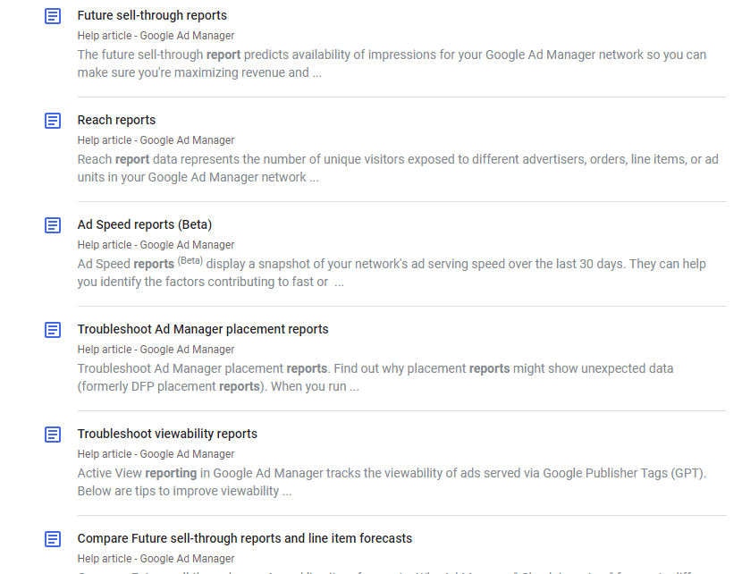 Sample list of reports offered in Google Ad Manager