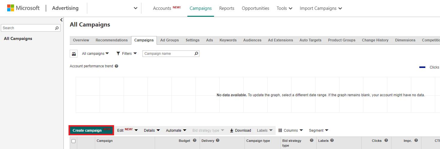 Microsoft Advertising create campaign button