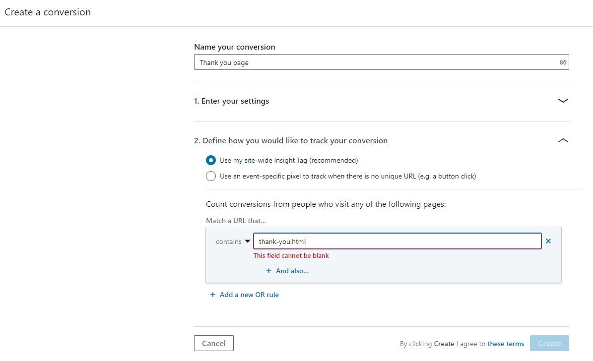 Screenshot of LinkedIn tag - new conversion settings