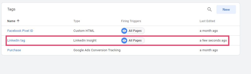 Screenshot of Google Tag Manager - LinkedIn tag trigge