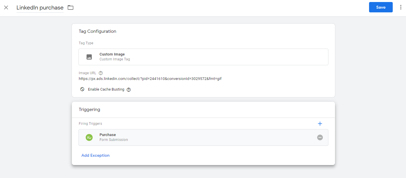 Screenshot of GTM - new LinkedIn purchase conversion