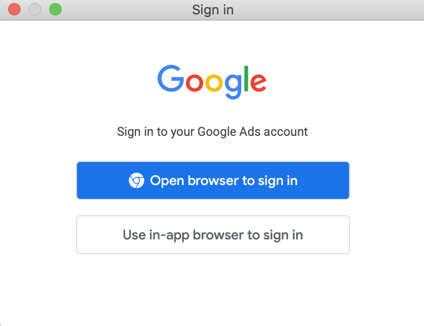 Google Ads Editor account authentication screen