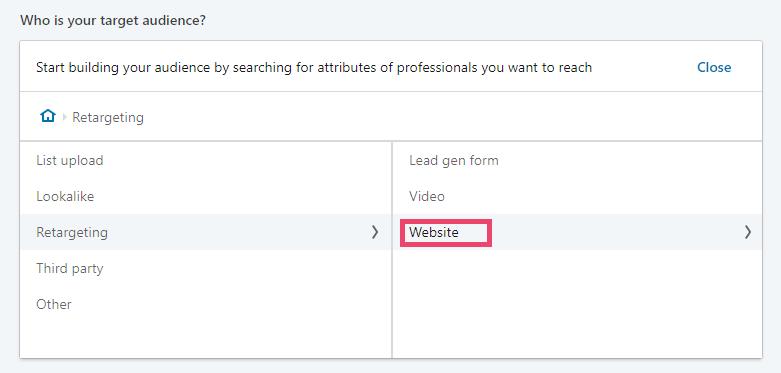 Screenshot of LinkedIn Ads - website audience