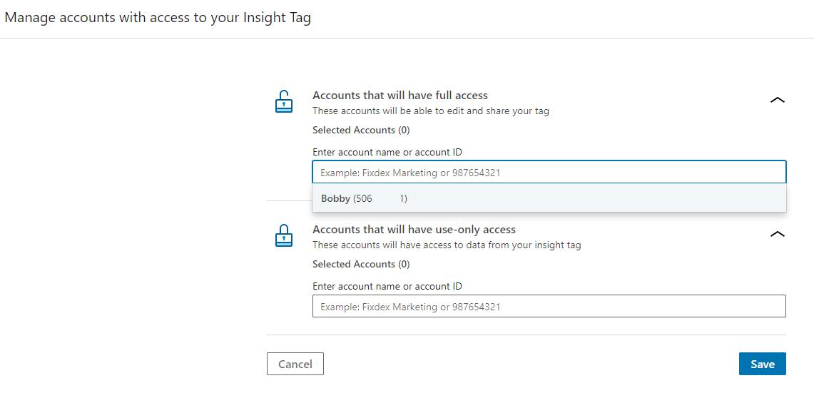 Screenshot of LinkedIn tag - sharing settings