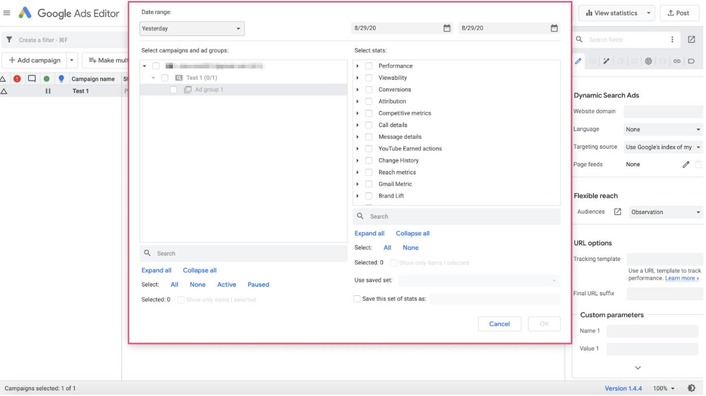 Google Ads Editor statistics selection