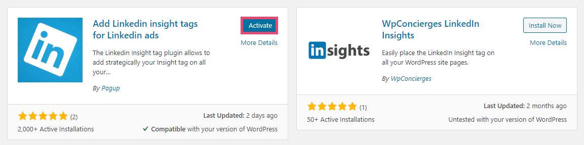 Screenshot of WordPress - install Pagup LinkedIn tag plugin