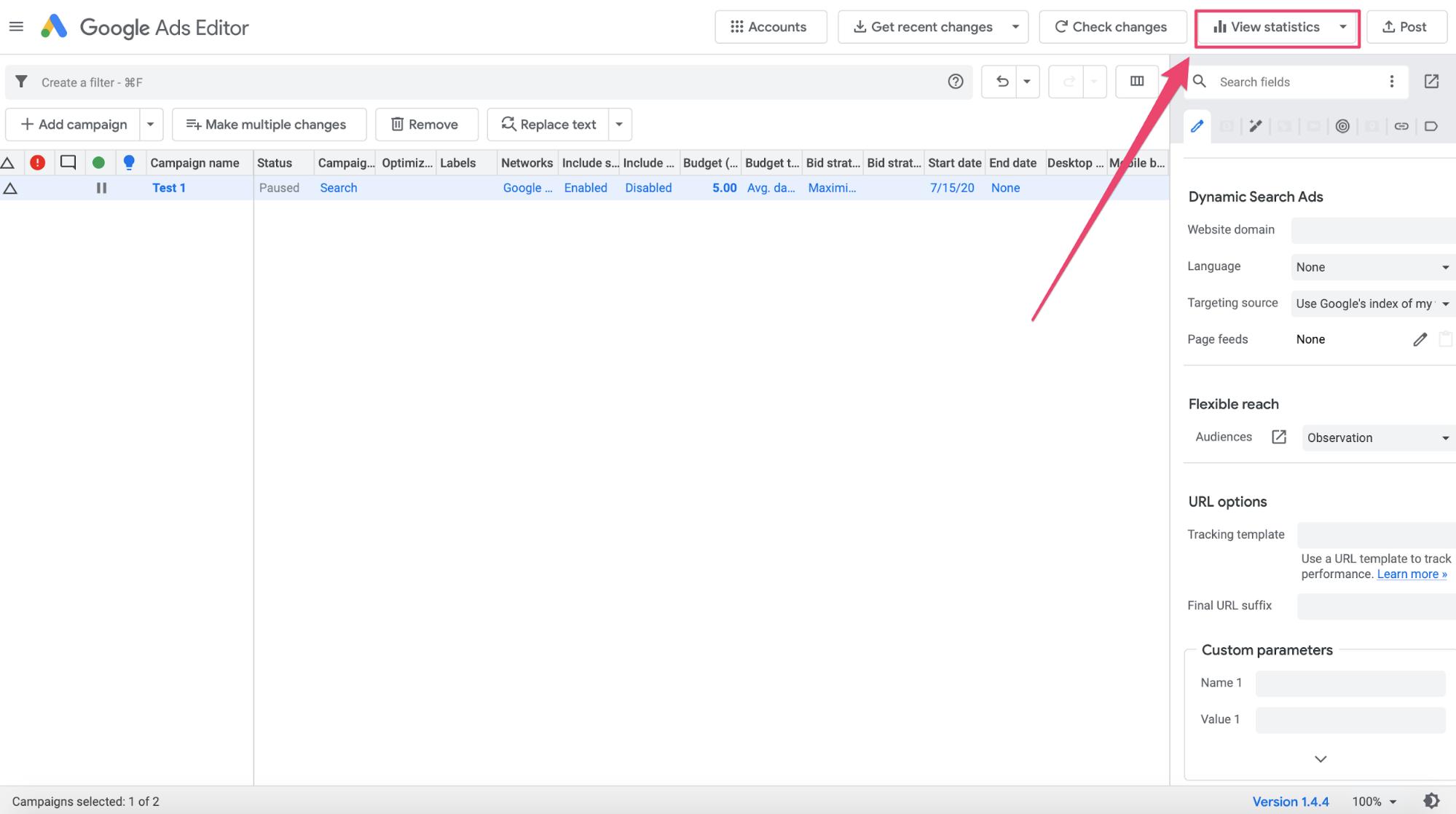 Google Ads Editor statistics function