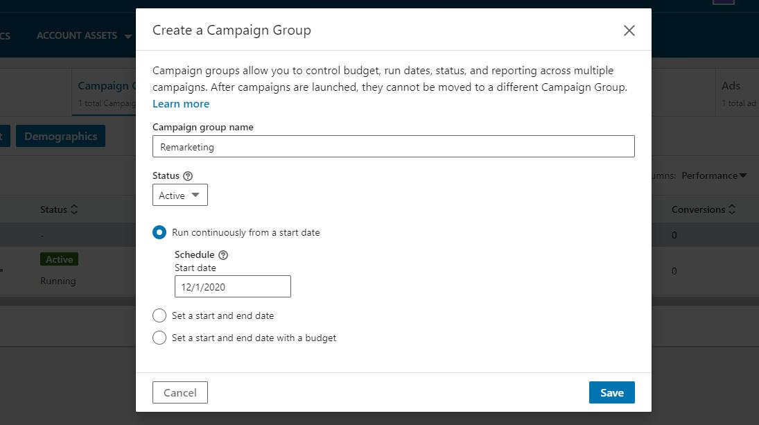 Screenshot of LinkedIn Ads - new campaign group