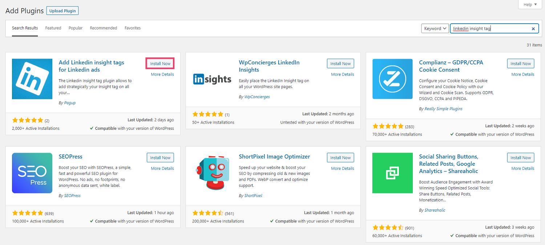 Screenshot of WordPress - search for LinkedIn tag plugin