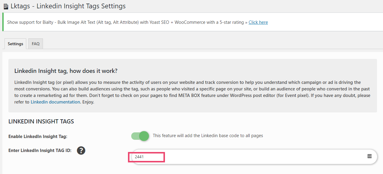 Screenshot of WordPress - LinkedIn tag plugin settings