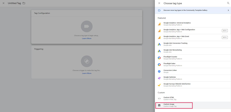 Screenshot of Google Tag Manager - create custom image tag