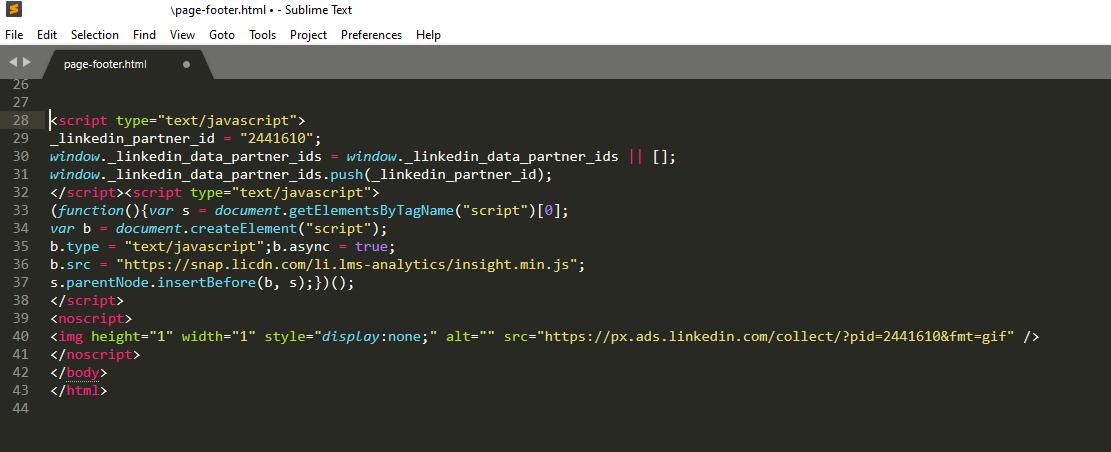 Screenshot of LinkedIn tag in code editor