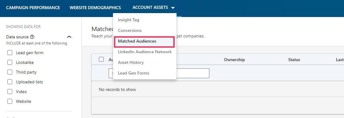 creenshot of LinkedIn - account assets