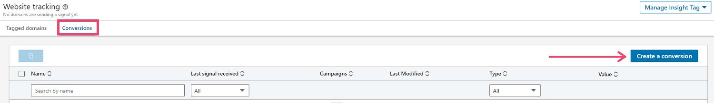 Screenshot of LinkedIn tag - create a conversion button