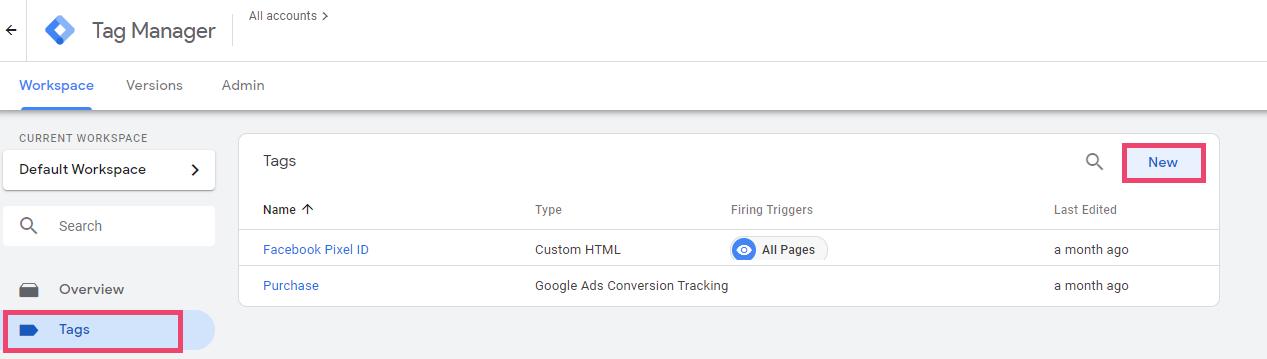 Screenshot of Google Tag Manager