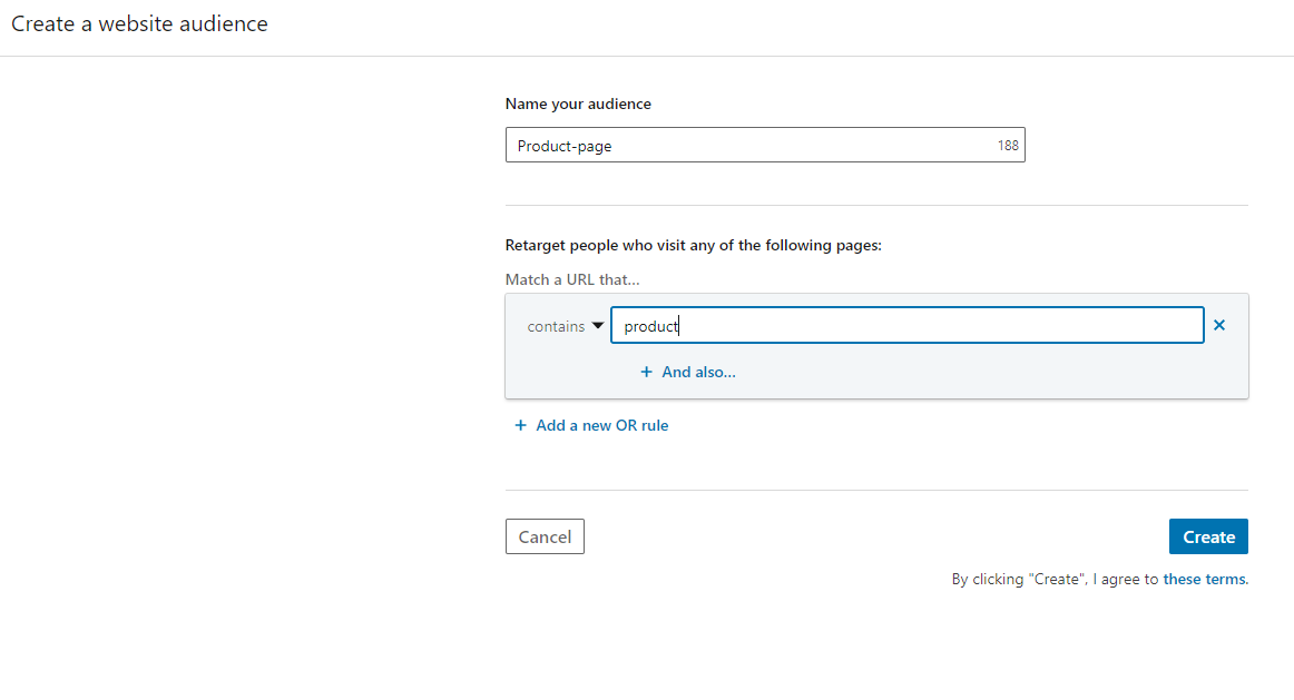 Screenshot of LinkedIn tag - new audience for product page