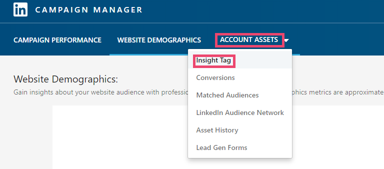 Screenshot of LinkedIn Ads - all visitors audience selected