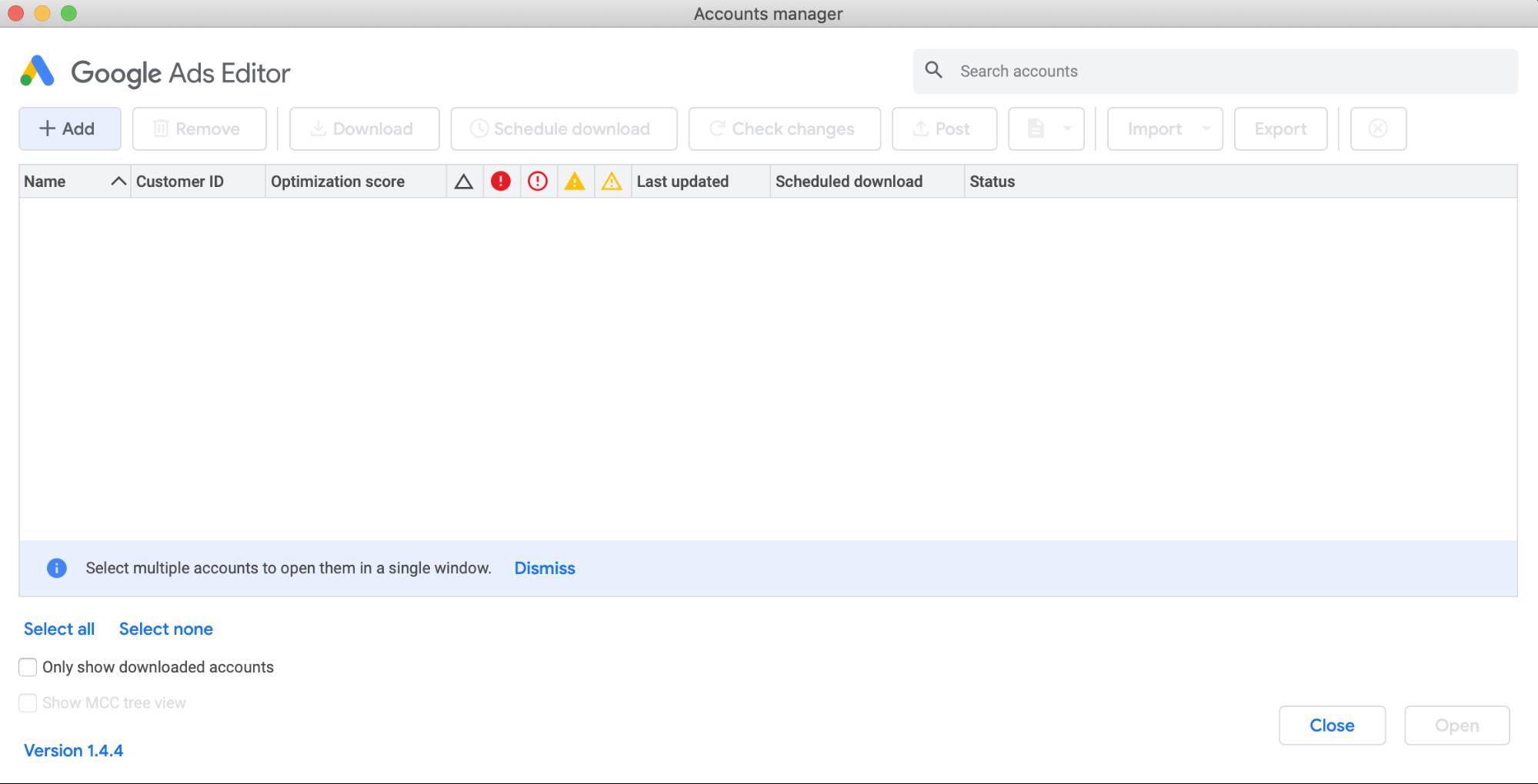 Google Ads Editor Blank Screen