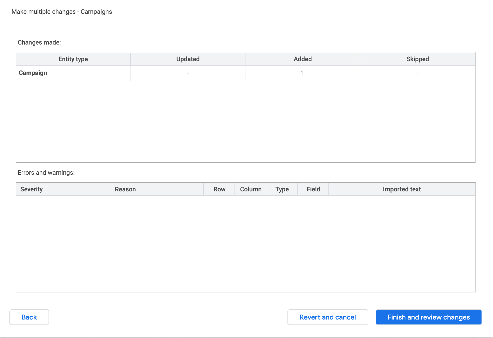 Google Ads Editor bulk changes submission