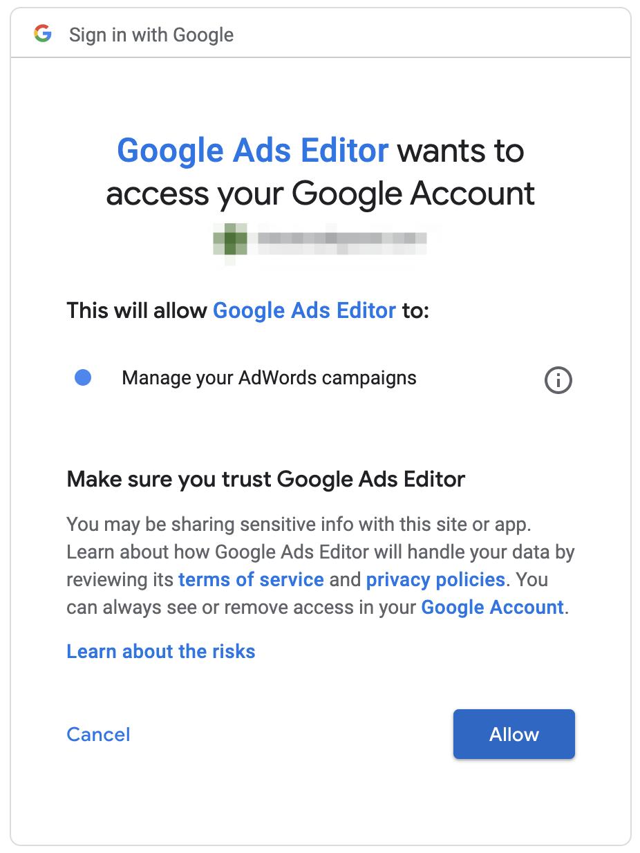 Google Ads Editor access permissions screen