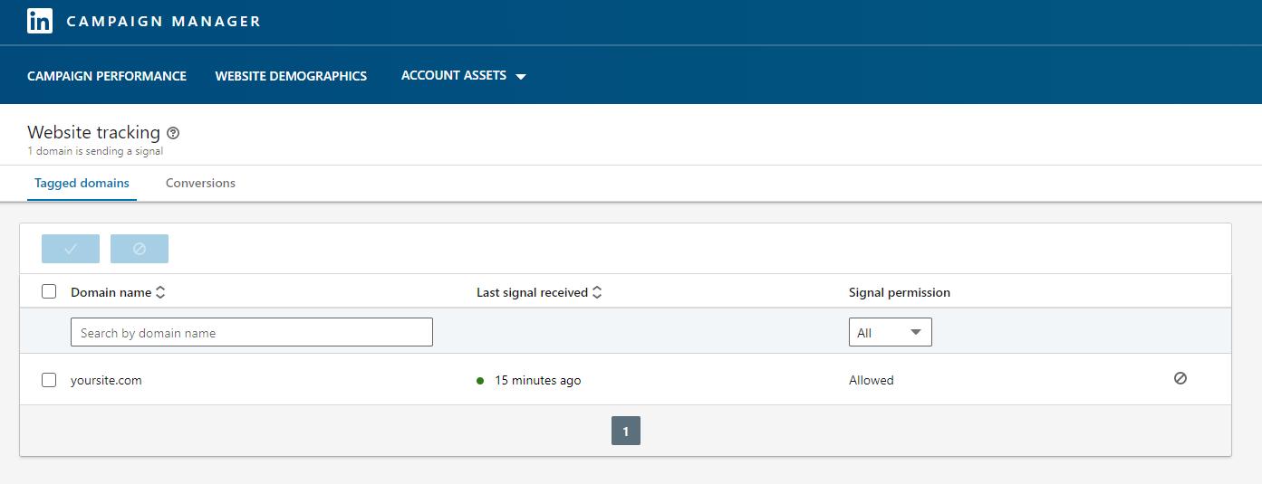 Screenshot of LinkedIn tag domains