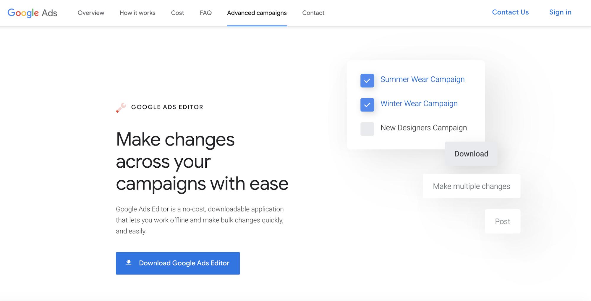 Google Ads Editor Download Screen