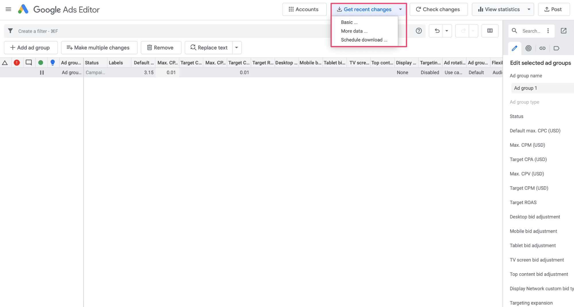 Google Ads Editor recent changes function