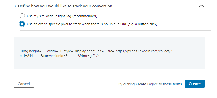 Screenshot of LinkedIn tag - event-specific conversion