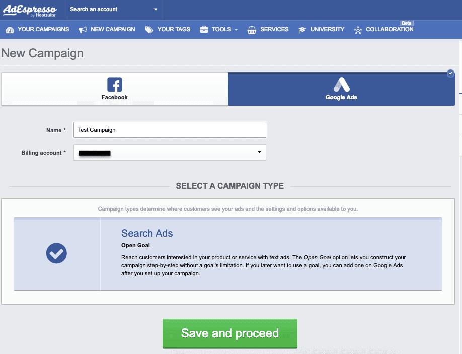 AdEspresso new Google Ads campaign
