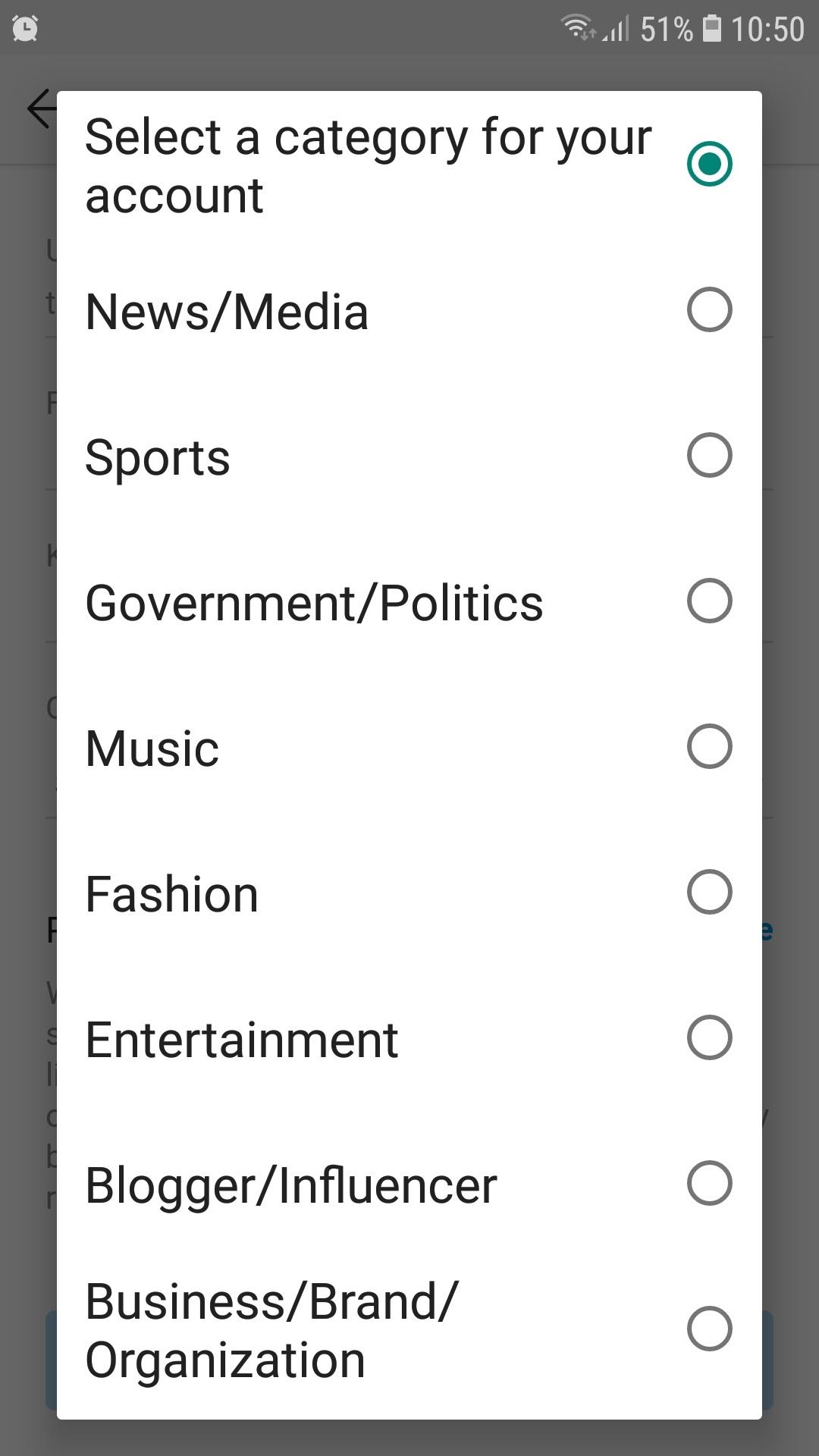 Instagram Account Verification Application Categories