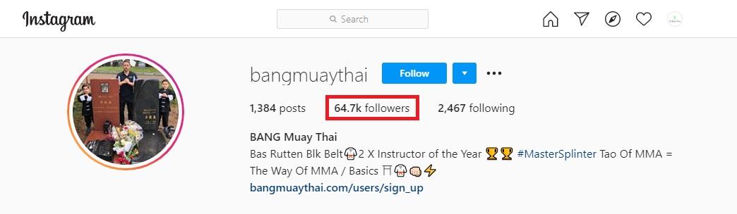 Bang Muay Thai Instagram followers