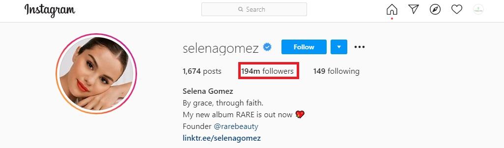 Selena Gomez Instagram followers
