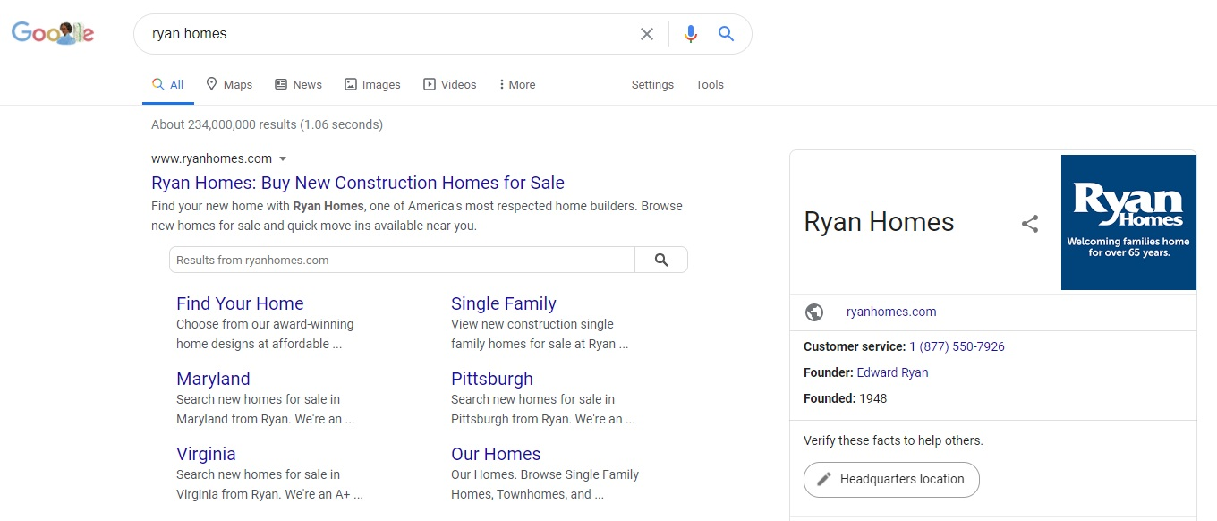 Ryan Homes Google Search Results