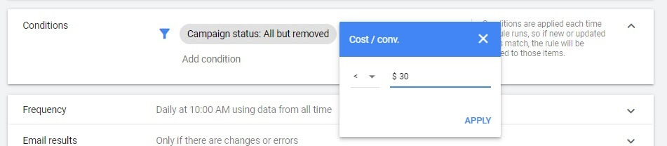 Google Ads new rule condition