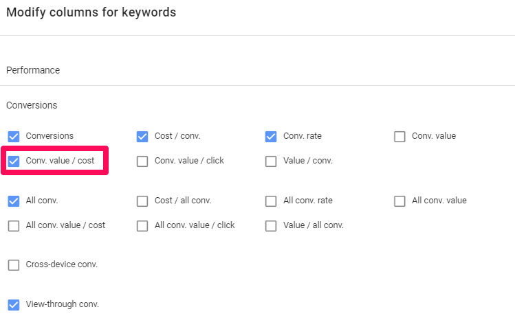Campaign ROAS Google Ads Column