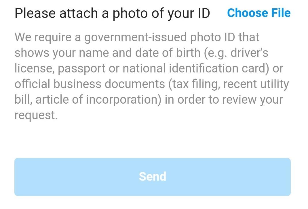 Instagram Account Verification Application - Photocopy of ID
