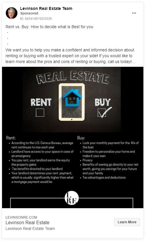 Levinson real estate Facebook ad