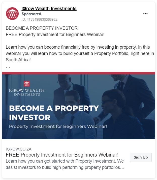 IGrowWealth FB ad