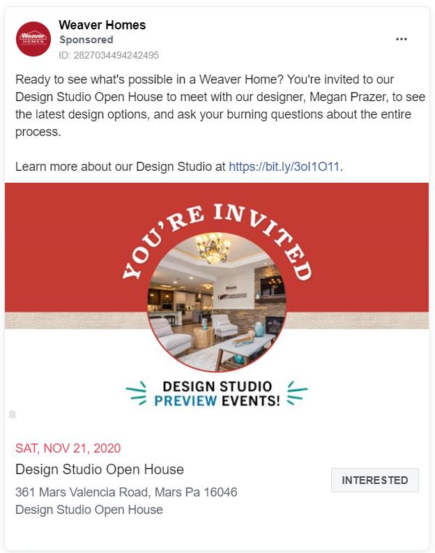 Weaver Homes FB ad