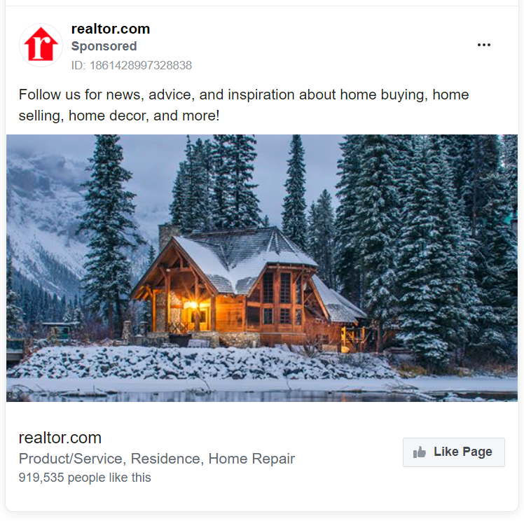 Realtor.com Facebook ad