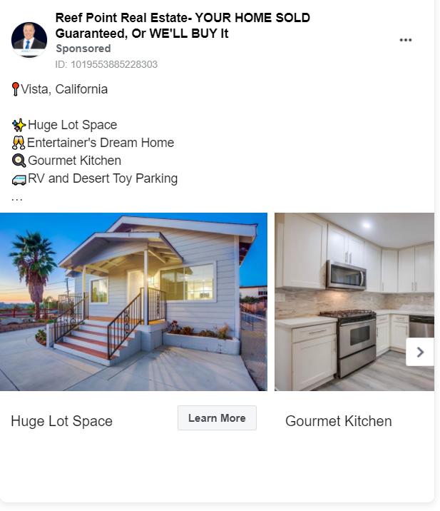 Reef Point real estate advertising