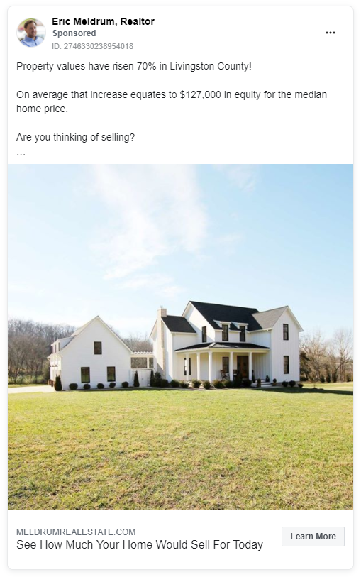 Eric Meldrum real estate Facebook ad