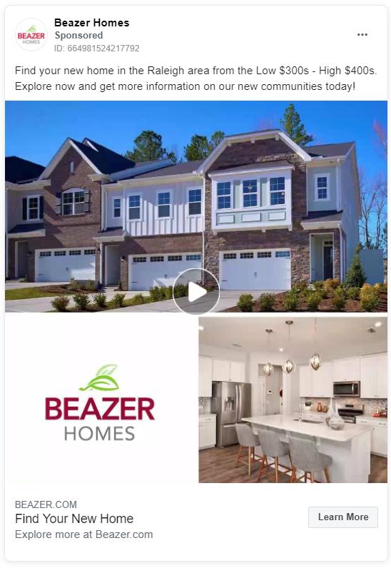 Beazer Homes real estate Facebook ad