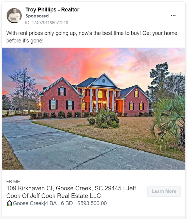 Troy Phillips real estate Facebook ad