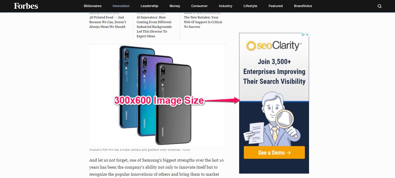 Example 300x600 Google ad