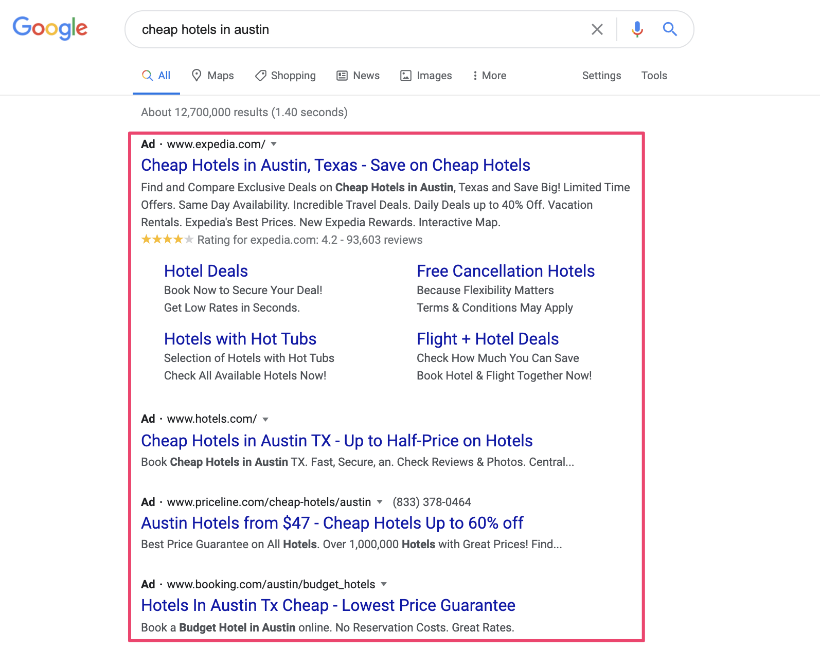 Google Dynamic Search ad example