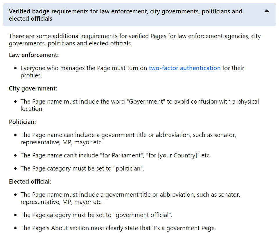 Facebook verification request form - requirements for different account types (law enforcement, politicians, governments)