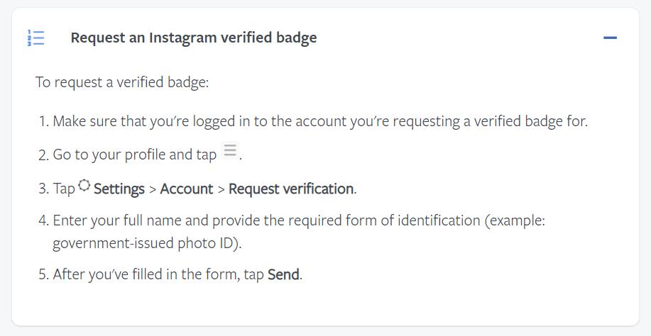 Instagram verification request form screen